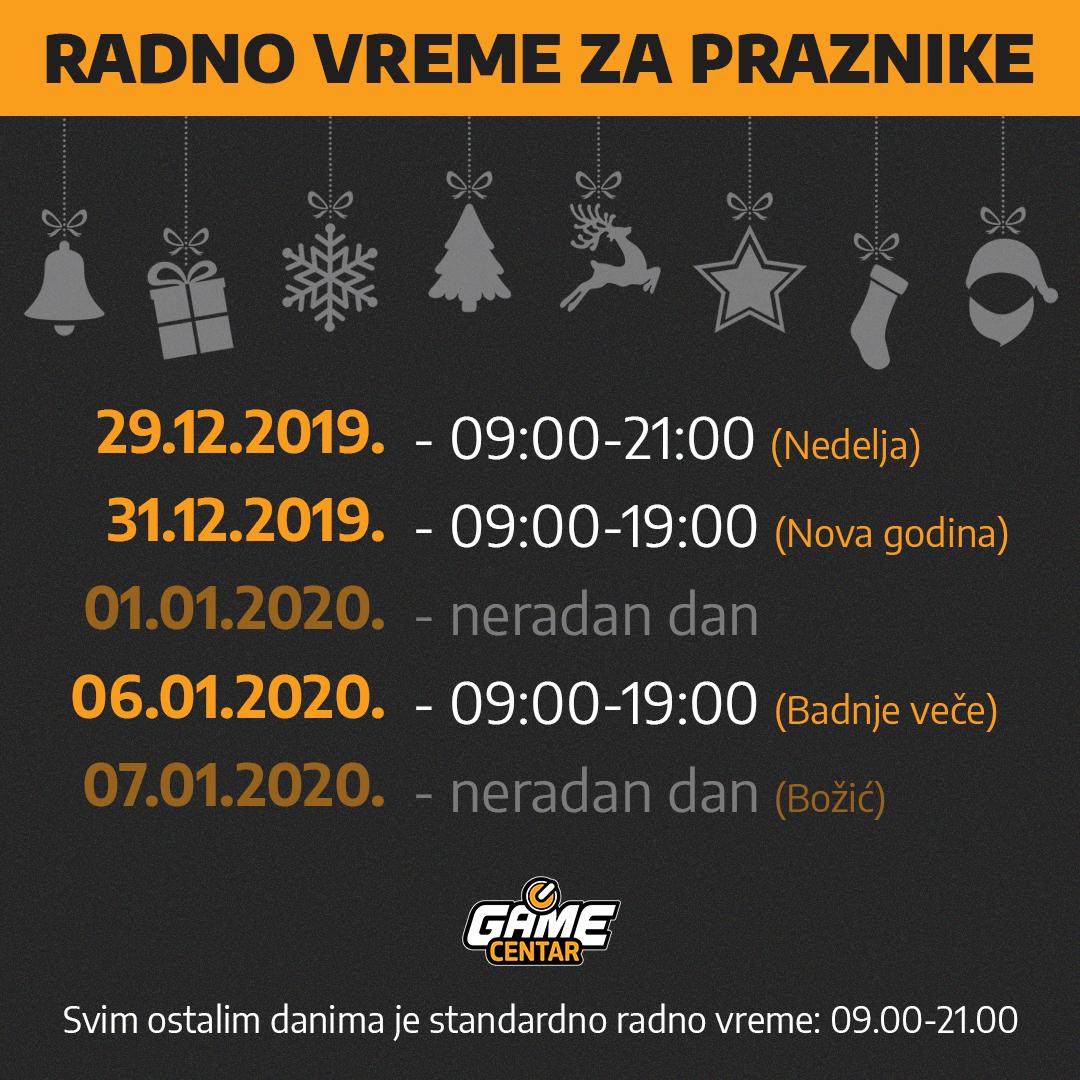 Game Centar RADNO VREME 2019